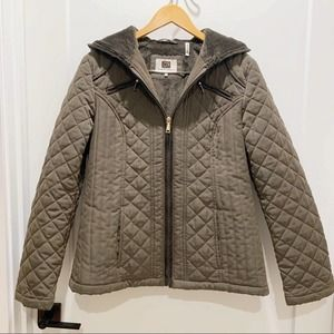 Laundry By Design Brown Quilted Hood Zip Jacket